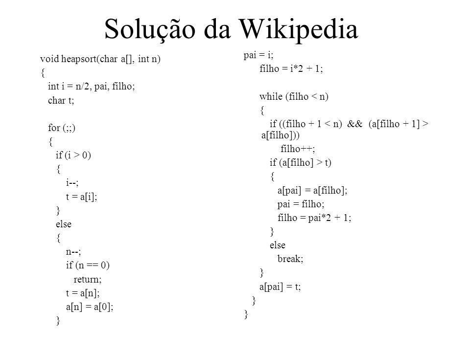 Solução da Wikipedia pai = i; void heapsort(char a[], int n)